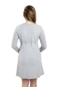 Kleid Galatea sweat grau-meliert, Model Kasia (1,70 m, Gr. 34 im 8. Monat schwanger)