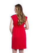 Kleid Erua rot, Model Kasia (1,70 m, Gr. 34 im 8. Monat schwanger)