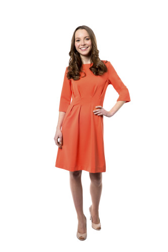Kleid Aurora orange, Model Rosie (1,56m, Gr. 32petite)