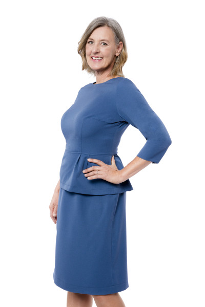 Kleid Sedna blau, Model Susanne (1,80 m, Gr.44 long)