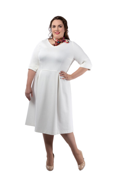 Kleid Fortuna weiß, Model Jasmin (Gr. 50 long, 1,75 m)