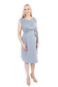 Kleid Erua blaugrau, Model Nadja (1,70 m, Gr. 32 im 7. Monat schwanger)