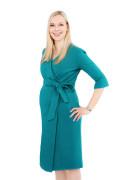 Kleid Epona smaragdgrün, Model Nadja (1,70 m, Gr. 34, im 7. Monat schwanger)